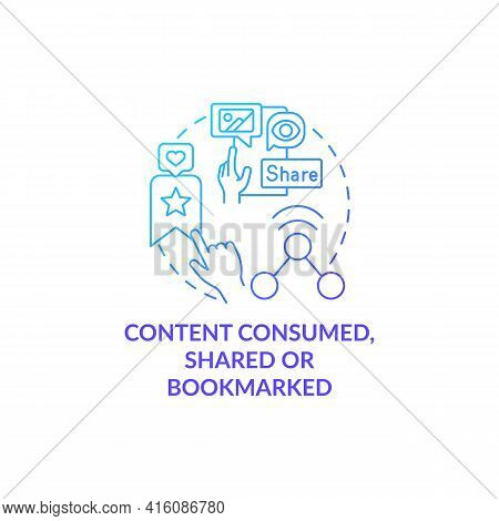 Content Consumed, Shared, Bookmarked Blue Gradient Concept Icon. Social Media Engagement. Internet U