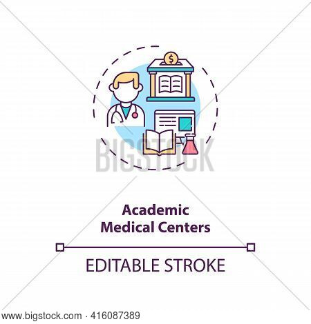 Academic Medical Centers Concept Icon. Sponsorship Idea Thin Line Illustration. Medical School. Prov