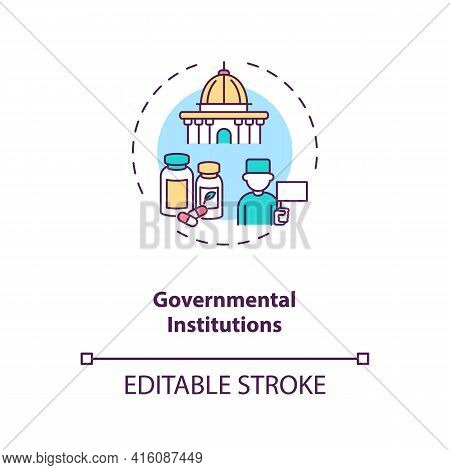 Governmental Institutions Concept Icon. Trials Sponsorship Idea Thin Line Illustration. Implementing