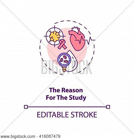 Reason For Study Concept Icon. Clinical Trial Protocol Component Idea Thin Line Illustration. Study
