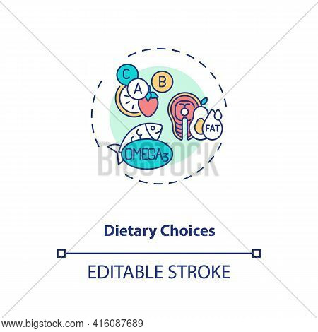 Dietary Choices Concept Icon. Clinical Trials Type Idea Thin Line Illustration. Dietary Intervention