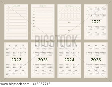 2022 2023 2024 2025 Calendar Daily Weekly Monthly Personal Planner Diary Template Minimalist Trendy