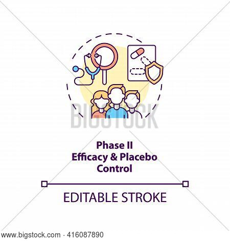 Efficacy And Placebo Control Concept Icon. Clinical Trials Phase 2 Idea Thin Line Illustration. Dosi