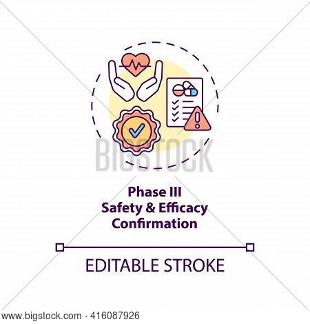 Safety And Efficacy Confirmation Concept Icon. Clinical Trials Phase 3 Idea Thin Line Illustration.
