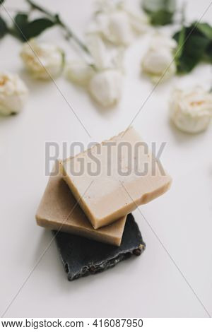 Handmade Natural Soap On White Floral Background. Soap Making. Soap Bars. Spa, Skin Care. Natural Or