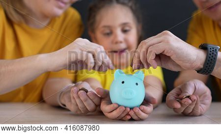 Piggy Bank. Happy Family A Save Money. Investment Business Finance Piggy Bank Concept. Happy Family
