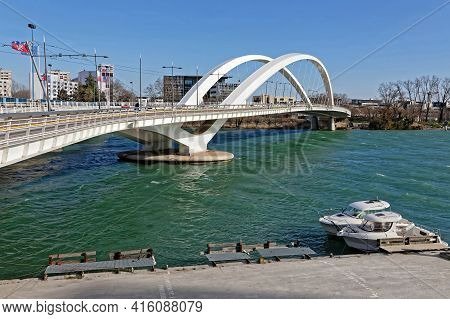 Lyon, France, February 19, 2021 : The Raymond-barre Bridge Is Reserved For Soft Mode Transport Conne