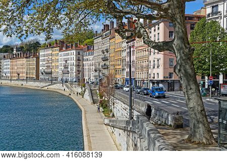 Lyon, France, April 6, 2021 : A Spring Day On The Saone River Banks In Lyon City Center.