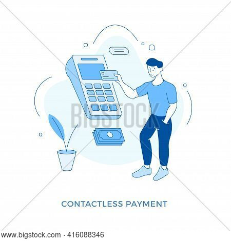 Linear Flat Contactless Payment Concept. Male Cartoon Character Customer Standing In Front Of Huge T