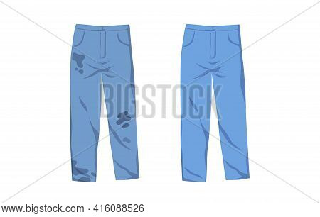 Dirty Untidy Jeans With Stains And Neat Clean Pants Isolated On White Background. Fresh Tidy Trouser