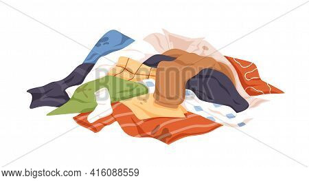 Mess Of Dirty Laundry. Pile Of Untidy Stained Clothes. Heap Of Soiled Spotted Underwear, Towels, T-s