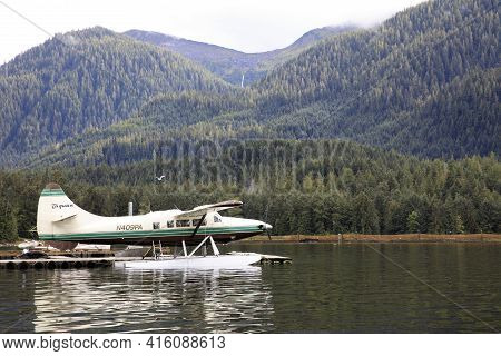 Neets Bay, Alaska / Usa - August 18, 2019: A Seaplane At Neets Bay, Neets Bay, Alaska, Usa