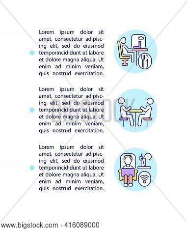 Office Space Usage Flexibility Concept Line Icons With Text. Ppt Page Vector Template With Copy Spac
