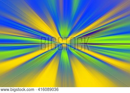 Abstract Surface Blur Of Radial Zoom In Neon Blue, Green And Yellow Tones. Abstract Neon Background
