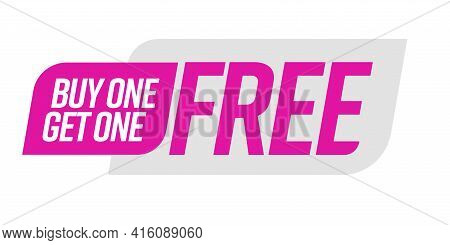 Buy One Get One Free Bogo Template Voucher Or Coupon. Special Shop Store Discount Tag, Sticker