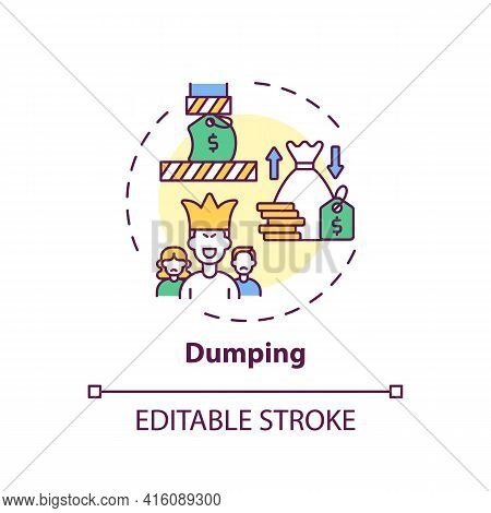 Dumping Concept Icon. Anti-competitive Practices Idea Thin Line Illustration. Monopoly Situation Cre