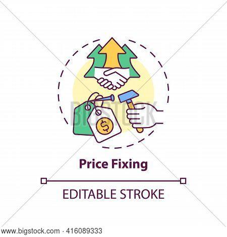 Price Fixing Concept Icon. Anti-competitive Practices Idea Thin Line Illustration. Collusive Price F