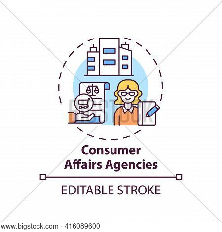 Consumer Affairs Agencies Concept Icon. Consumer Protection Service Idea Thin Line Illustration. Ens