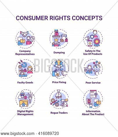 Consumer Rights Concept Icons Set. Customers Protection From Harm Idea Thin Line Rgb Color Illustrat