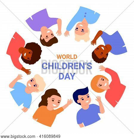 World Childrens Day. Happy Multinational Kids Waving Hands, Stand In Border Circle. Smiling Children