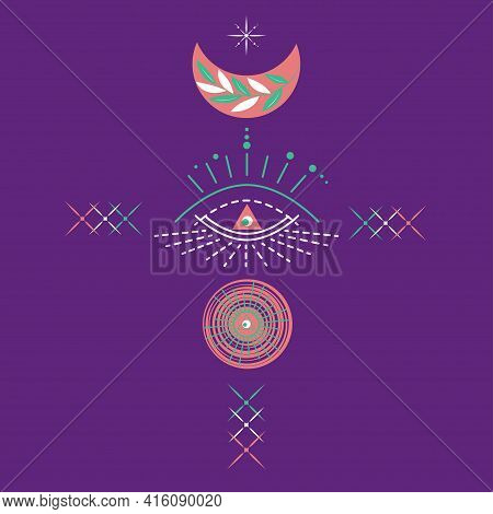 Esoteric Symbol Of Opening Of Third Eye Of Soul, Sun, Moon, Stars. Illustration Of Magic Session, Lo