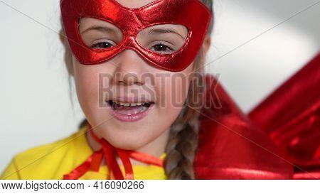 Girl Superhero Portrait Face. Feminism A Happy Family A Close-up Home Kid Dream Concept. Child Super