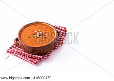 Gazpacho Soup In Crock Pot Isolated On White Background. Copy Space