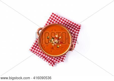 Gazpacho Soup In Crock Pot Isolated On White Background. Top View