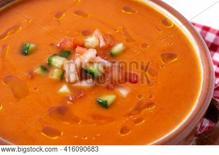 Gazpacho Soup In Crock Pot Isolated On White Background.close Up