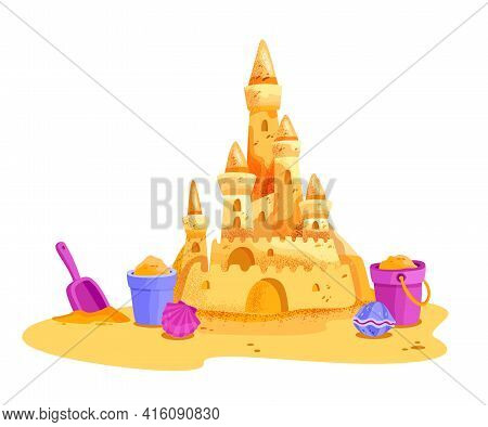 Sand Castle Vector Summer Beach Illustration, Cartoon Vacation Kids Clipart, Yellow Towers, Bucket,