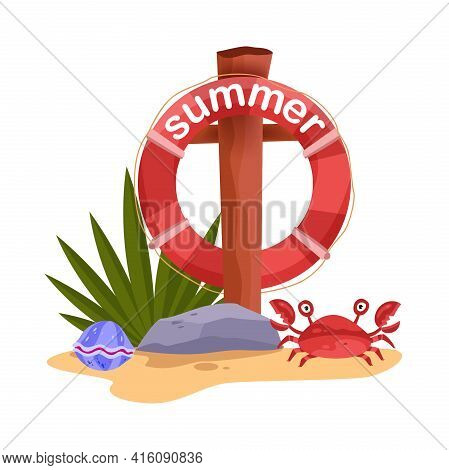 Lifebuoy Summer Beach Rescue Vector Concept, Ocean Red Crab, Tropical Plants, Sand, Stone, Shell. Se
