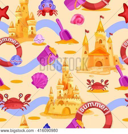 Sand Castle Vector Seamless Pattern, Summer Beach Background, Crab, Lifebuoy, Seashells, Bucket, Sho