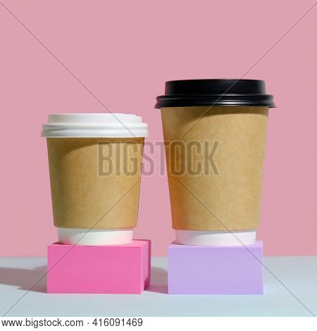 Paper Coffee Containers With Lid On Trendy Minimal Coloured Background. Coffee To Go Container Mocku