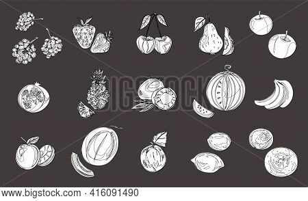 Vegan Icon Set With Fruits And Berries. Strawberries, Cherries, Plums, Grapes, Banana, Watermelon, M