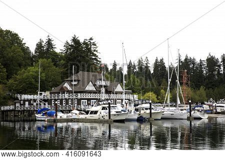 Vancouver, America - August 18, 2019: A Small Port Near Stanley Park, Vancouver, America