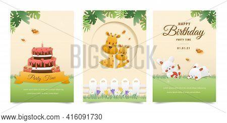 Set Banner Invitation Birthday Cute Greeting Card. Jungle Animals Celebrate Children's Birthday And
