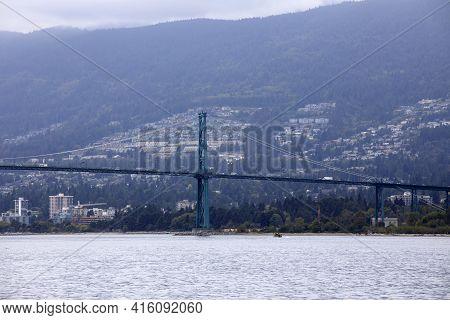 Vancouver, America - August 18, 2019: Vancouver Bridge, Vancouver, America