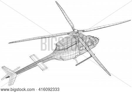 Helicopter Air Machine. Wire-frame Eps10 Format. Vector Created Of 3d, Wire-frame