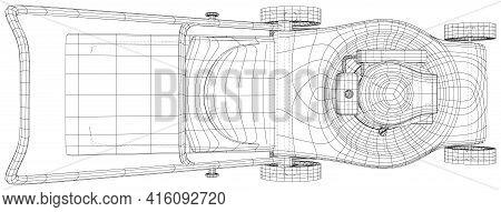 Lawn Mower Gasoline Equipment. Gardening Grass-cutter. Eps10 Format. Wire-frame Vector Created Of 3d