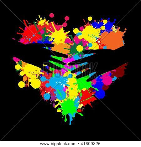 Paint Splatter Heart With Two Hand