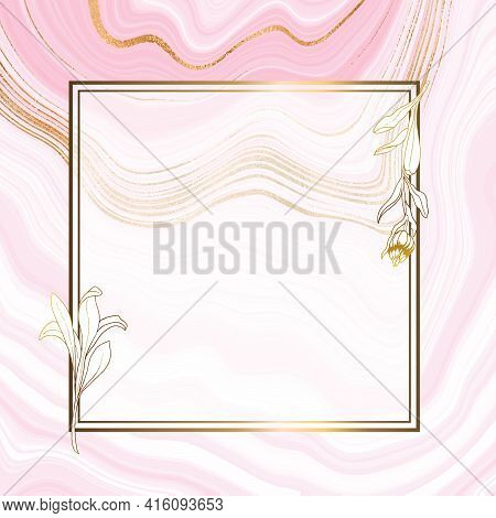 Gold Invitation. With Floral Decoration. Marble Pink Gold Background. Original Design For Print And