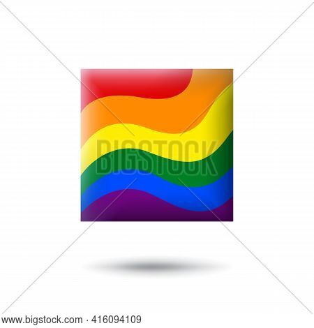 Lgbt Concept - Rainbow Pride Flag Lgbtq Icon In The Shape Of Square. Abstract Waving Lgbtq Flag. Mul
