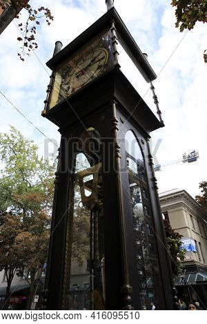 Vancouver, America - August 18, 2019: Gastown Vancouver Steam Clock, Vancouver, America