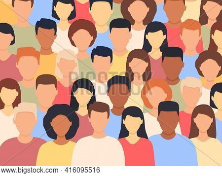 Diverse People Standing Together. Multicultural Group Of People Background (europian, Asian, America