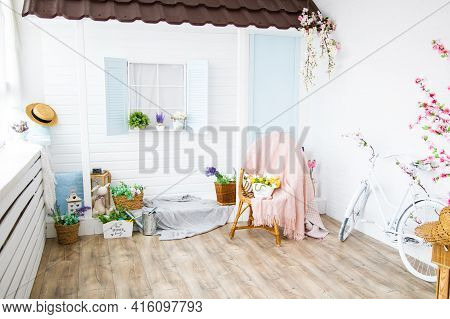 Interior With Vintage House With Veranda, Furniture, Bright Spring Studio With Beautiful Decor, Flow