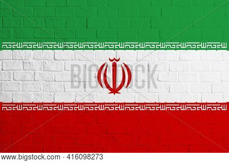 Flag Of Iran Brick Wall Texture Of The Flag Of Iran.