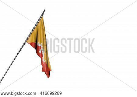 Wonderful Any Celebration Flag 3d Illustration  - Bhutan Flag Hanging On A Diagonal Pole Isolated On