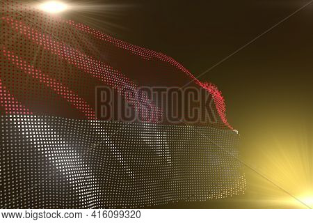 Cute Any Occasion Flag 3d Illustration  - Modern Image Of Monaco Flag Made Of Dots Waving On Yellow