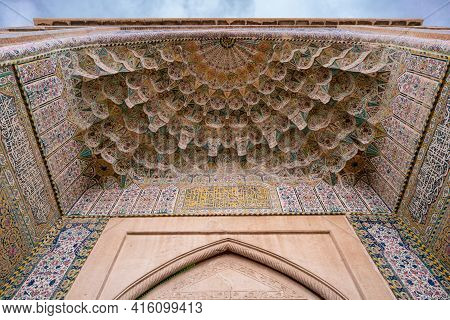 Shiraz, Iran - 04.12.2019: Detail Of A Richly Decorated Gate Of Vakil Bazaar And Mosque In Shiraz, I