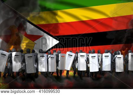 Zimbabwe Police Swat In Heavy Smoke And Fire Protecting Order Against Mutiny - Protest Stopping Conc